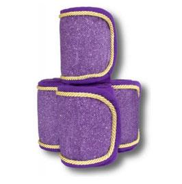 Fleecebandagen 4-er Set, dark purple Glitzer