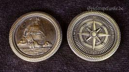 """LARP Spielmünzen """"Piraten"""" goldfarben, 30mm Durchmesser"""