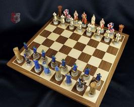 Schachbrett in Ahorn/Walnuss-Furnier, Feldgröße 45mm, ohne Figuren