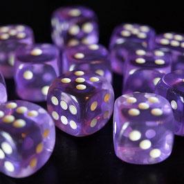 Fluoreszierende Augenwürfel lila transparent, Kantenlänge 15mm
