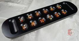 Kalaha Spielbrett groß, schwarz mit schönen Spielsteinen