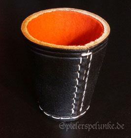 Leder Würfelbecher schwarz mit rotem Filz und 6 Würfeln im Baumwollsäckchen