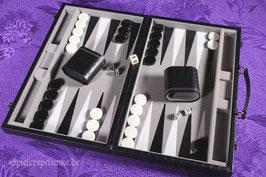 Backgammon Spielekoffer Kunstleder schwarz