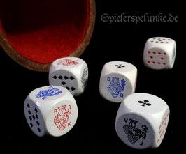 Pokerwürfel, 5 Stück, aus Holz, weiß lasiert Kantenlänge ca. 16mm