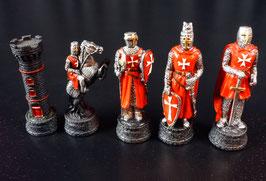 """Schachfigurensatz """"Kreuzritter"""" Templer/Johanniter rot/weiß ohne Schachbrett"""