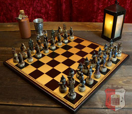 Schachbrett aus Salpaleder schwarz, Feldgröße 45mm