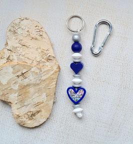 Taschen Anhänger Herz blau/silber/weiss