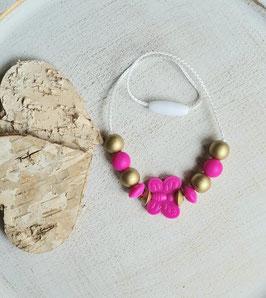 Kinderkette Schmetterling pink/gold ab 3J.