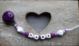 Nuggiketteli violett/weiss