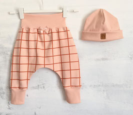 Kuschelset Grid  Baggy Pants & Hipster Beanie apricot/rost 68