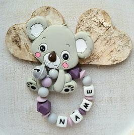 Greifling Koala hellgrau/lila mit Glöggli