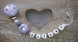 Nuggikette Flieder/Grau mit Holzblume