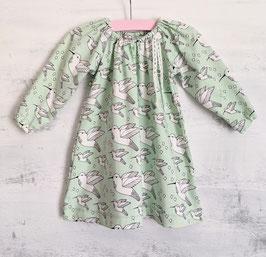 Jersey Kleidchen Kolibris hellmint/weiss 74/80