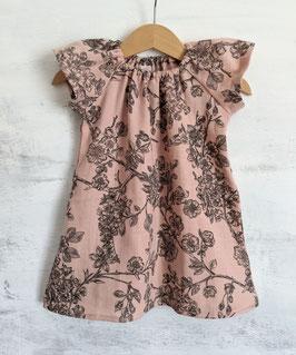 Musselin Dress Kirschblüten puderrosa/schwarz 50/56 bis 104