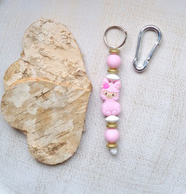 Taschen Anhänger Lama rosa/gold