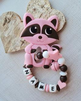Greifling Waschbär rosa/braun mit Glöggli