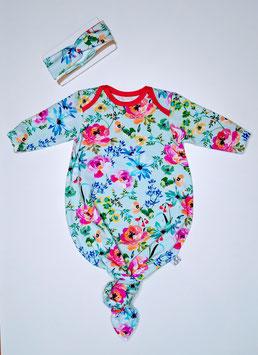 geknotetes Baby Body Spring Flowers hellblau/pink 50/56