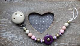 Nuggiketteli  Holzblume violett/rosa/natur/gold