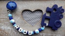 Beisskette Loko blau