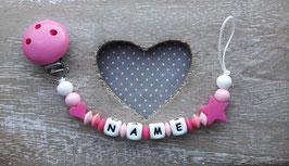Nuggiketteli Stern/Herz rosa/pink