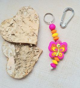 Taschen Anhänger Schmetterling pink/orange/gelb
