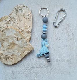 Taschen Anhänger Ponny grau/hellblau/silber