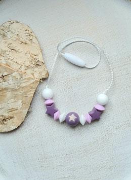 Kinderkette Stern weiss/rosa/lila ab 3J.