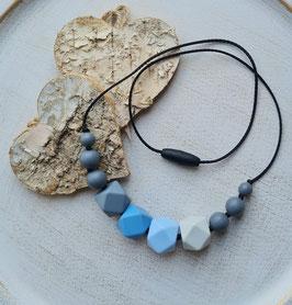 Stillkette grau/blau/pastel 61cm