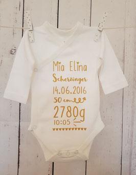 Body mit Geburtsangaben personalisiert