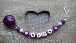 Nuggiketteli Herz und Stern violett/weiss