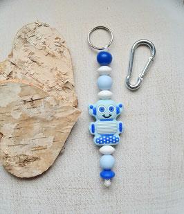 Taschen Anhänger Roboter blau/pastellblau/weiss