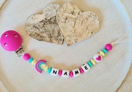 Nuggiketteli Rainbow pink/türkis/pastellgelb