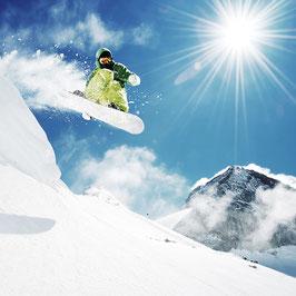 Glasbild Snowboarder Sun