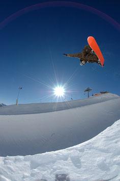 Glasbild Snowboard Pipe