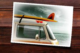 Glasbild Surfer Bulli