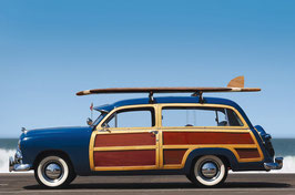 Glasbild Surfing Mobil