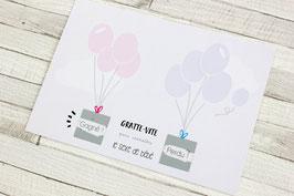 Carte postale à gratter : C'est une fille ! - Modèle Ballons