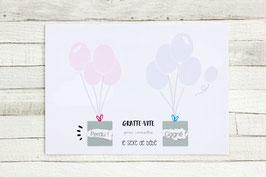 Carte postale à gratter : C'est un garçon ! - Modèle Ballons