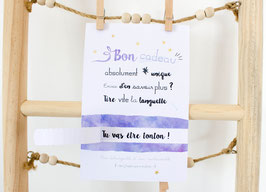 Bon Cadeau Violet :  Demande Témoin - Annonce grossesse - Annonce Mariage