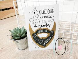 Carte postale à gratter : Demande Parrain - Modèle Barbe