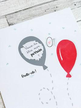 Carte postale à gratter : Demande Parrain - Modèle ballon