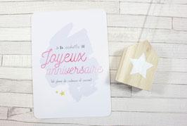 Carte postale : Joyeux Anniversaire (rose)