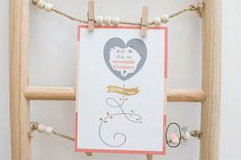 Carte postale à gratter : Demande Demoiselle d'honneur - Modèle Ballon coeur