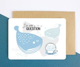 Carte postale à gratter : Demande Parrain - Modèle Baleine