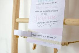 Carte Surprise Multicolor : Demande Témoin - Annonce grossesse - Annonce Mariage