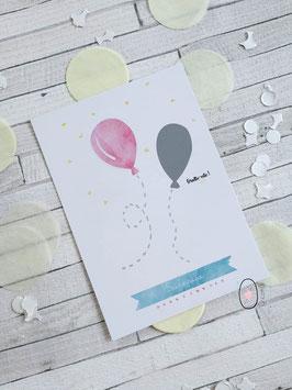 Carte postale à gratter : Demande marraine - Modèle ballon