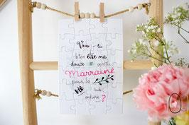 Puzzle : Demande en marraine Rose et Vert