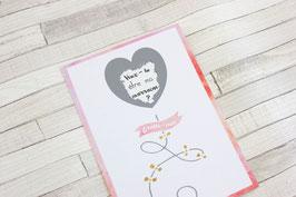 Carte postale à gratter : Demande marraine - Modèle ballon coeur