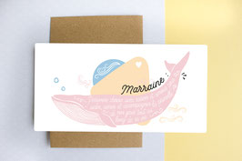 Carte Postale : Marraine - Modèle Baleine