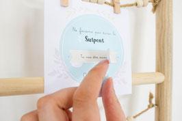 Carte Surprise Carrée Fleurs :  Demande Témoin - Annonce grossesse - Annonce Mariage